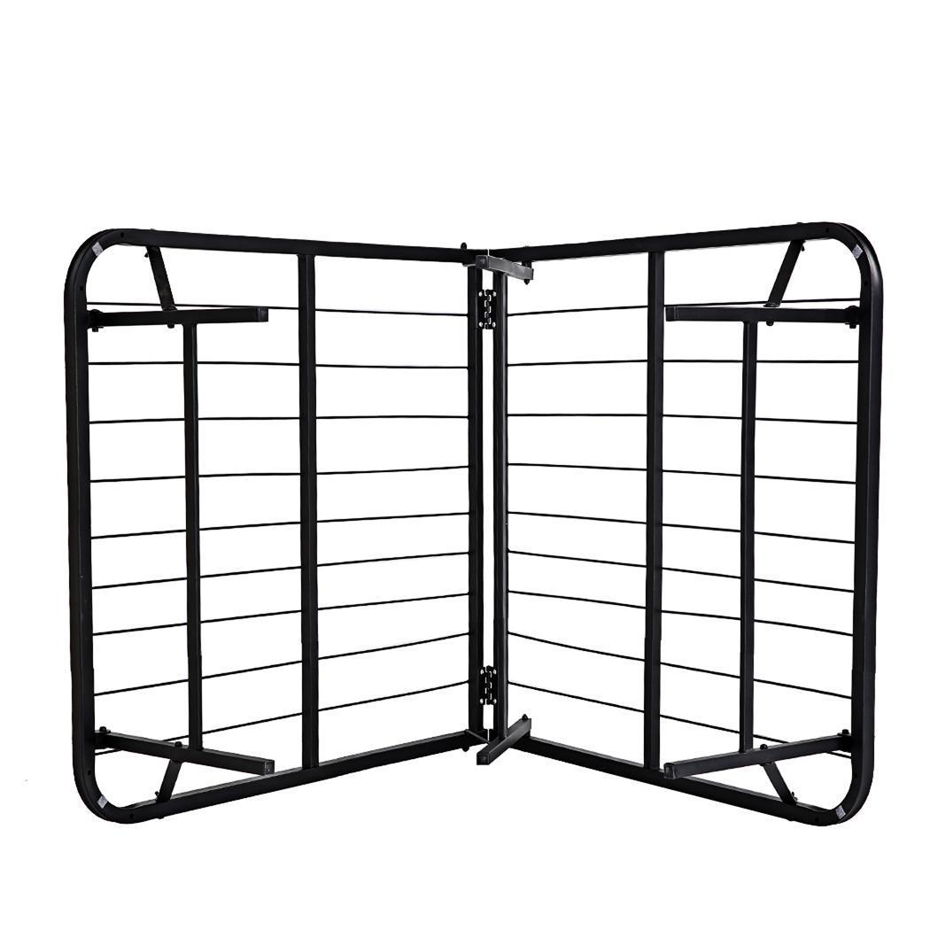 u s metal folding twin size black platform bed frame mattress foundation gdy7 ebay. Black Bedroom Furniture Sets. Home Design Ideas