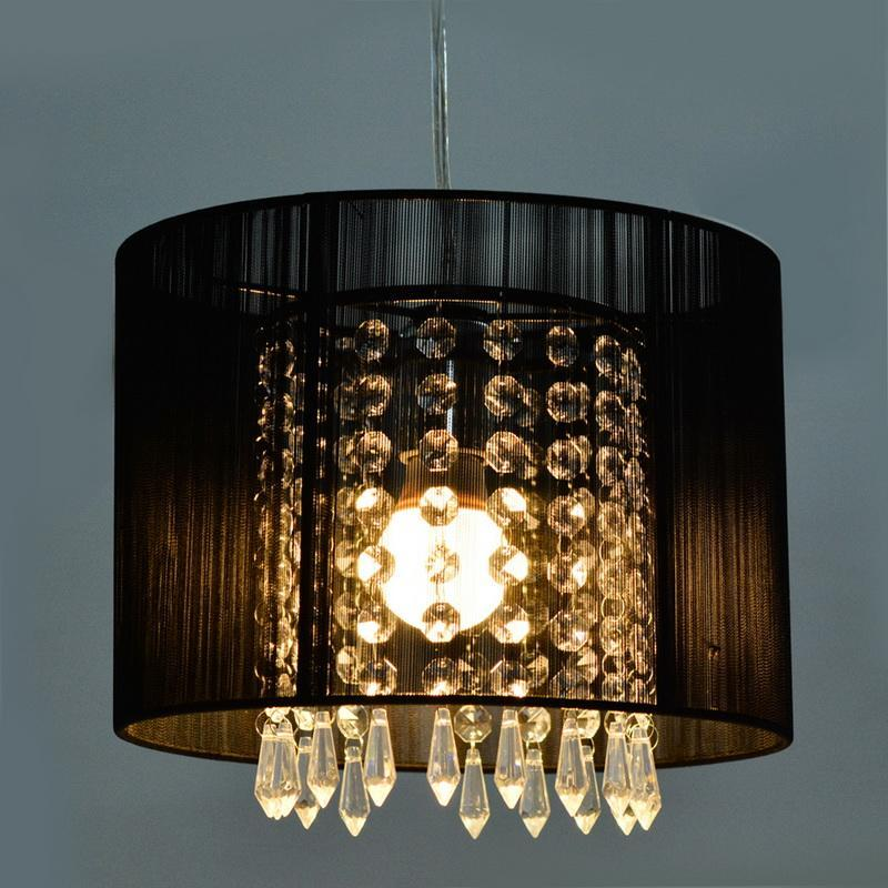 round black sheer drum crystal chandelier light living bedroom pendant