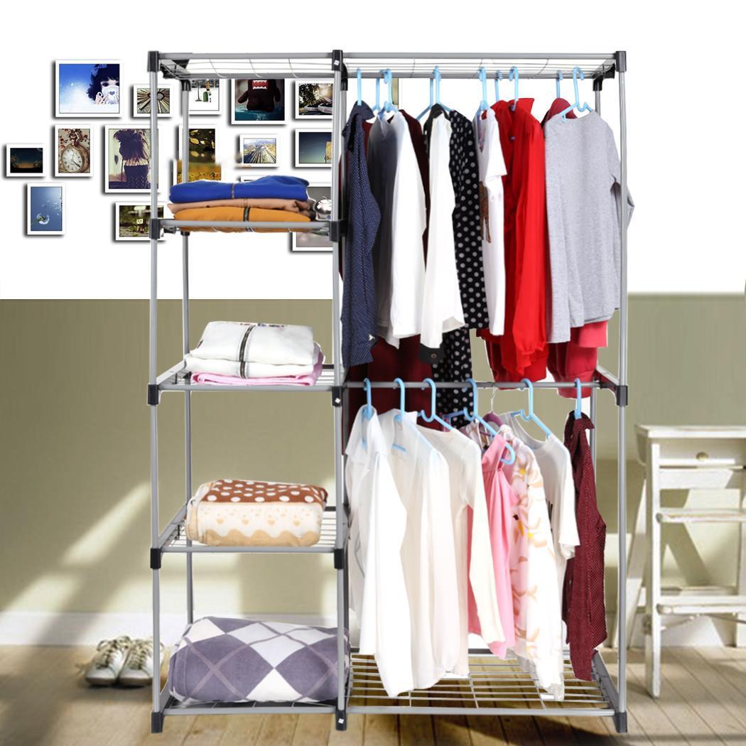 double rod closet organizer clothes freestanding hanging rack storage organizer ebay. Black Bedroom Furniture Sets. Home Design Ideas