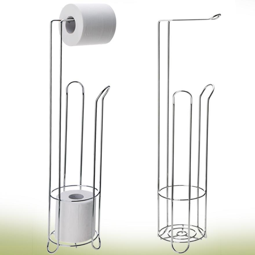 Free Standing Toilet Paper Holder Stand Stainless Bathroom